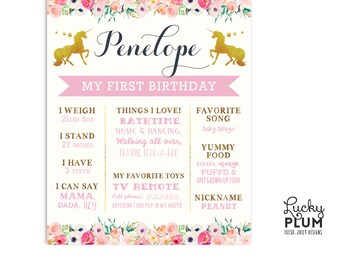 First Birthday Board / Unicorn Birthday Board / Flower Birthday Board / Woodland Birthday Board / *Digital file UC01