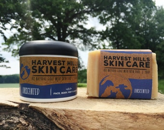 Sensitive Skin Duo - Unscented For Babies & Ultra Sensitive Skin - Pure and Natural Goat Milk Soap and Lotion