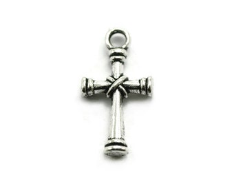 BULK 100 Silver Cross Charms religious pendant Silvertone Metal
