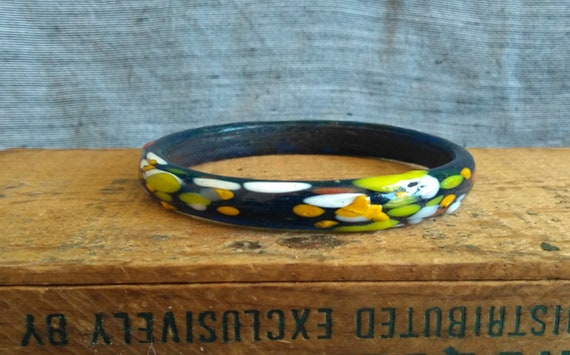 Unusual vintage molded glass navy blue Murano Venetian Italian drip bracelet bangle