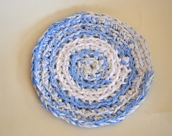 Crocheted Trivet Cotton Blend Round 9 inch Blue