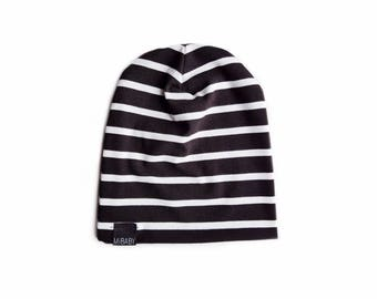 Striped Bamboo Beanie / Black & White / Toddler Beanie / Baby Beanie / Kids Beanie / Slouchy Beanie / Slouchy Toque / Baby Hat
