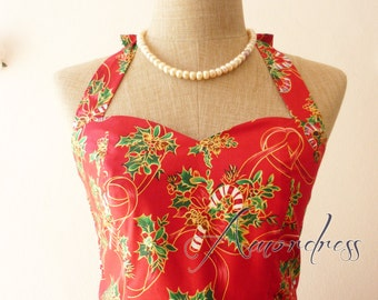 Christmas Party Dress // Red Christmas Candy Dress // Christmas Celebration Dress // Party Dress -XS-XL-