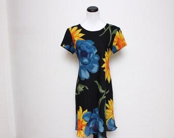 VTG 90s Floral Cute Clueless Fun Mini Dress L
