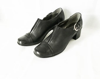 Black leather shoes - Leather shoes - Stacked Heel shoes - Kenneth Cole shoes - Minimalist leather shoes 8.5 - Black leather slip ons