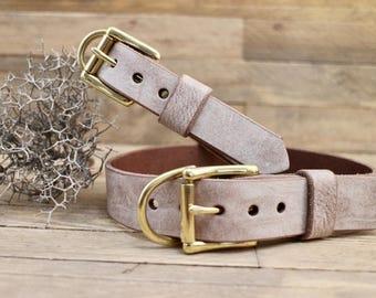 Handmade collar, Leather dog collar, FREE ID TAG, Custom leather collar, Foggy collar, Collar, Solid brass hardware, Sturdy collar, Gift.