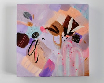 Sorbet. Original Small Abstract Painting. Contemporary Art. Modern Painting. Canvas Painting. Purple, Orange, Pink, Brown Art. Wall Decor.