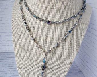 Necklace, Choker, Bracelet - various shades of blue, silver, swarovski