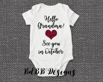 Grandparent Reveal Pregnancy Announcement Onesie / Pregnancy Reveal Onesie / Congrats Grandparent / Were Pregnant Onesie / Hi Grandma Onesie