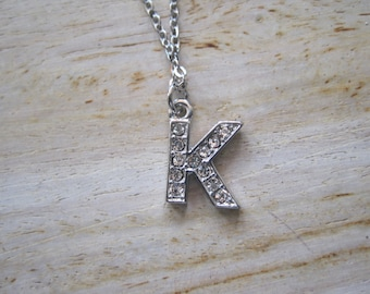 "Silver  ""K"" Necklace -Initials Necklace - Initials - Word Jewelry - Letter Jewelry"