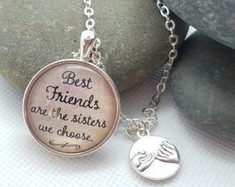 Best Friends Are The Sisters We Choose Cabochon Pendant with a Double Sided Pinkie Square Charm Necklace