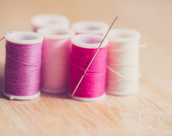 sewing room photo, spools of thread, craft room art, pink thread print, needle and thread, spool art, cottage chic art, craft room decor