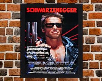 Framed The Terminator Arnold Schwarzenegger Movie / Film Poster A3 Size Mounted In Black Or White Frame