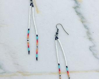 Santa Fe Holiday - Long Seed Bead Earrings