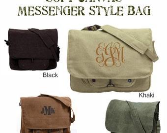 Monogrammed Messenger Bag - Personalized Messenger Bag | Vintage Paratrooper  | Personalized Crossbody Bag