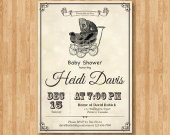Items similar to baby shower invitation retro stroller baby shower vintage carriage baby shower invitation baby boy or baby girl invites brown or any filmwisefo