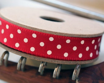 East of India Red with White Dots Grosgrain Ribbon 3m