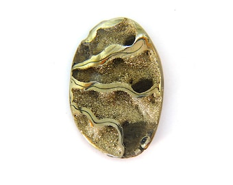 Fossil Ammonite with Nautral Pyrite Druzy Designer Cabochon Gemstone 28.4x42.6x7.3 mm 56.5 carats Free Shipping