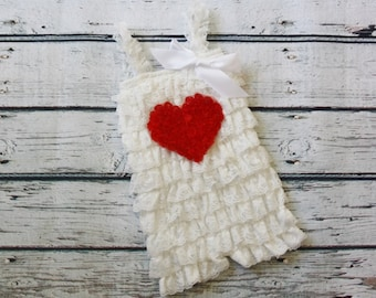White Petti Romper with Heart-Petti Romper with Heart- Red Baby Petti Romper- Pink Toddler Petti Romper-Girls Petti Romper