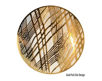 Gold Placemats, Wedding Placemats, Foil Chic Design, Round Gold Placemats - PACK OF 20