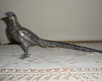 "SALE ** LARGE Weidlich Bros WB Mfg Co 2276 ~ 16"" Long Antique / Vintage Silver Plate Pheasant Statue Decor"