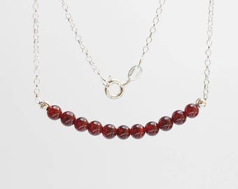 Garnet Gemstone Bar 925 Sterling Silver Chain Necklace / Red Stone Bar Necklace / Dainty Layering Necklace / January Birthstone Necklace