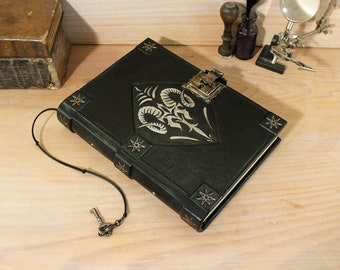 Magic Journal, Book of Spells with Lock and Key, black leather - Mythological symbols - One of a kind