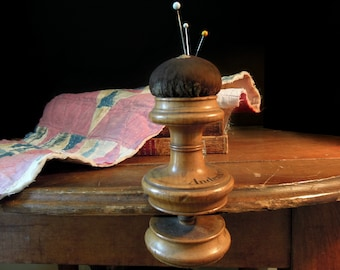 Antique Victorian Wood  Pin Cushion  / German Souvenir / Victorian Pin Cushion /  Sewing Pincushion Caddy / Collectible Sewing
