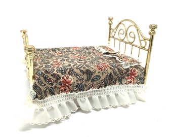 Dollhouse Furniture, Brass Bed, Mattress, Bedding, Bedroom, Traditional, Miniature, 1:12 Scale, Upholstered, 1970