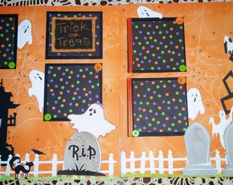 Halloween 12x12 Premade Scrapbook pages