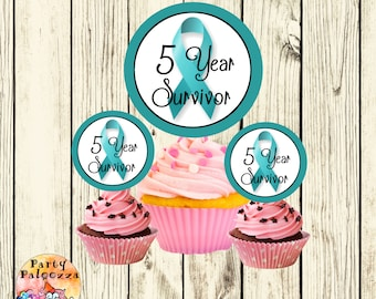 Printable Ovarian Cancer Survivor Cupcake Toppers/5 year survivor