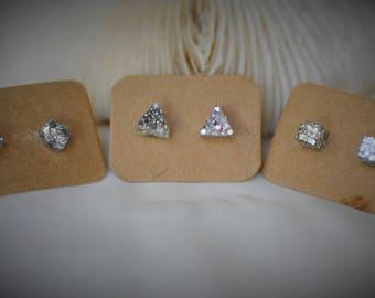 RESIN Earring, SILVER Glitter Earring, Geometry Earring - Small Gem, Triangle, Cube on Stainless Steel Stud Earring ~ 5 mm