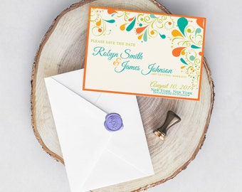 Summer Floral Swirl Wedding Save the Date PRINTABLE / DIY
