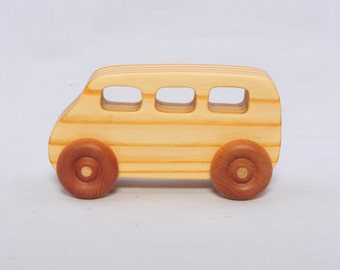 Wooden Vintage Style Mini Bus - Child Safe, Handcrafted from Reclaimed Pine, Eco-friendly by GiggleTree Toys