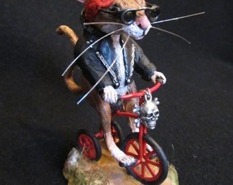 Bicycle Mouse Polymer Clay OOAK Sculpture