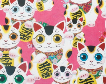 Fuku Kitty - Good Luck Kitty -8410A - By Alexander Henry 100% Quilters Cotton Available in Yards, Half Yards and Fat Quarters