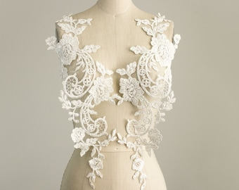 New Item! EXTRA LARGE Stunning Ivory Sequin Beaded Organza Venise Floral Lace 2 Piece Applique / Wedding Dress / Also in BLACK And White