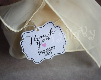 Custom WEDDING FAVOR TAGS with little heart