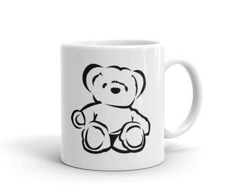 Teddy Bear Black and White Mug DDLG, ABDL, Little, Adult Baby, Kawaii