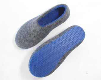 Mens felted slippers, House slippers Women Wool shoes for Men, Boiled Wool slippers, Eco wool shoes, House Slippers - 7 Color Rubber Soles