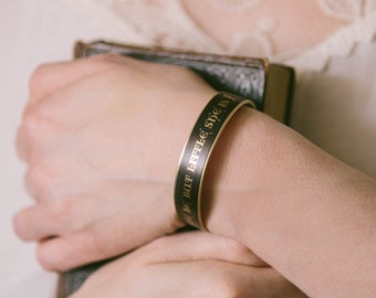 Best Friend Gift - She Is Fierce - Shakespeare Quote Cuff Bracelet - Midsummer Night's Dream - Valentine Gifts For Sister or Daughter