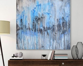 Abstract blue and black drip canvas