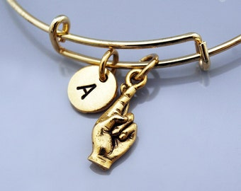 Fingers crossed sign language, ASL fingers crossed, Gold fingers crossed, Expandable bangle, Personalized bracelet, Initial bracelet