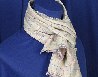 Mauve Plaid Wool Scarf  -  Classic Wool Plaid Scarf .