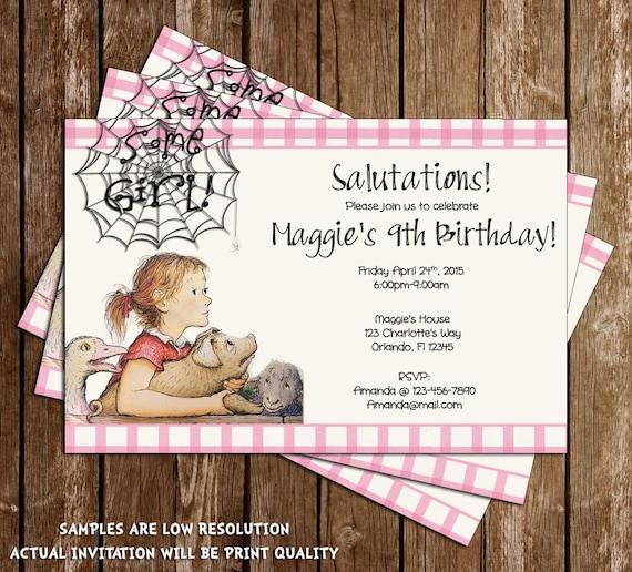 Birthday Party Charlotte Nc: Charlott'e Web Some Girl Birthday Party Invitation