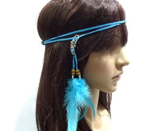 Headband elastic for feather and faux turquoise leather