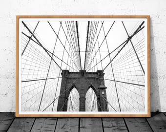 Brooklyn Bridge Print, Download Digital Print, Black White Photography, New York Print, Bridge Art, Minimalist Poster, Brooklyn Bridge Art