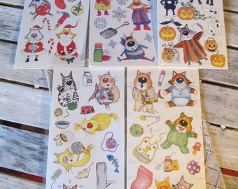 "5 Packs Acid and Lignin Free Packs - Kevin Whitlark Cats Sticker Packs ""On A Lark"" New Old Stock 2003 Scrapbook Stickers"