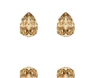 Swarovski Crystal Golden Shadow Champagne Mini Ivy Stud Earrings Gold Plated Womens Girls   14x10 Drop