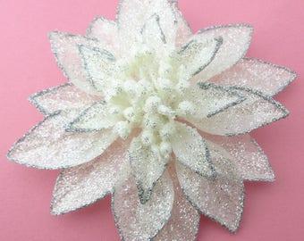 """Large 6"""" White Silver Full Glitter Star Poinsettia Flower Brooch Pin"""